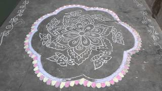 Beautiful Rangoli Dot and lines with colors