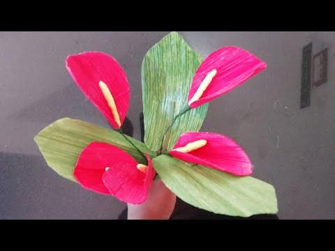 Diy Anthurium Flowers made using Arecanut Palm leaves   Craft India Tutorial  Plastic wire flowerpot
