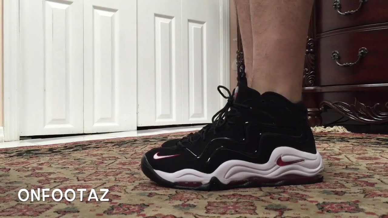 low priced 5afd5 fcba7 Nike Air Pippen 1 Black Red On Foot
