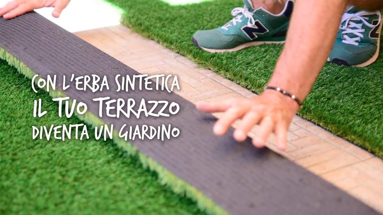 Posa di erba sintetica per il terrazzo pratosempreverde youtube
