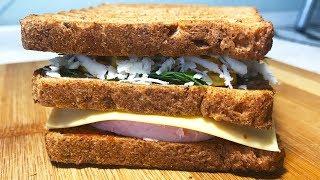 Бутерброд на завтрак.Рецепт сэндвича с колбасой, сыром и кукурузой.Простая еда