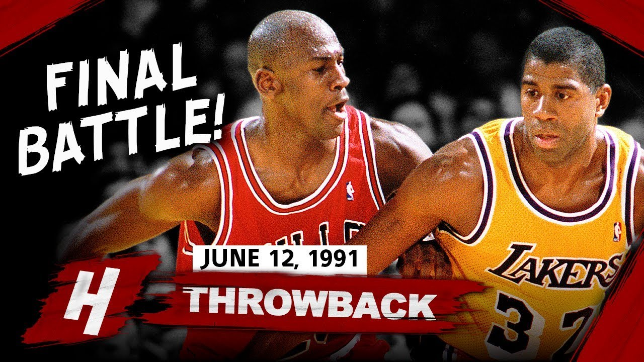 magic johnson vs michael jordan legendary game 5 duel highlights 1991 nba finals face to face