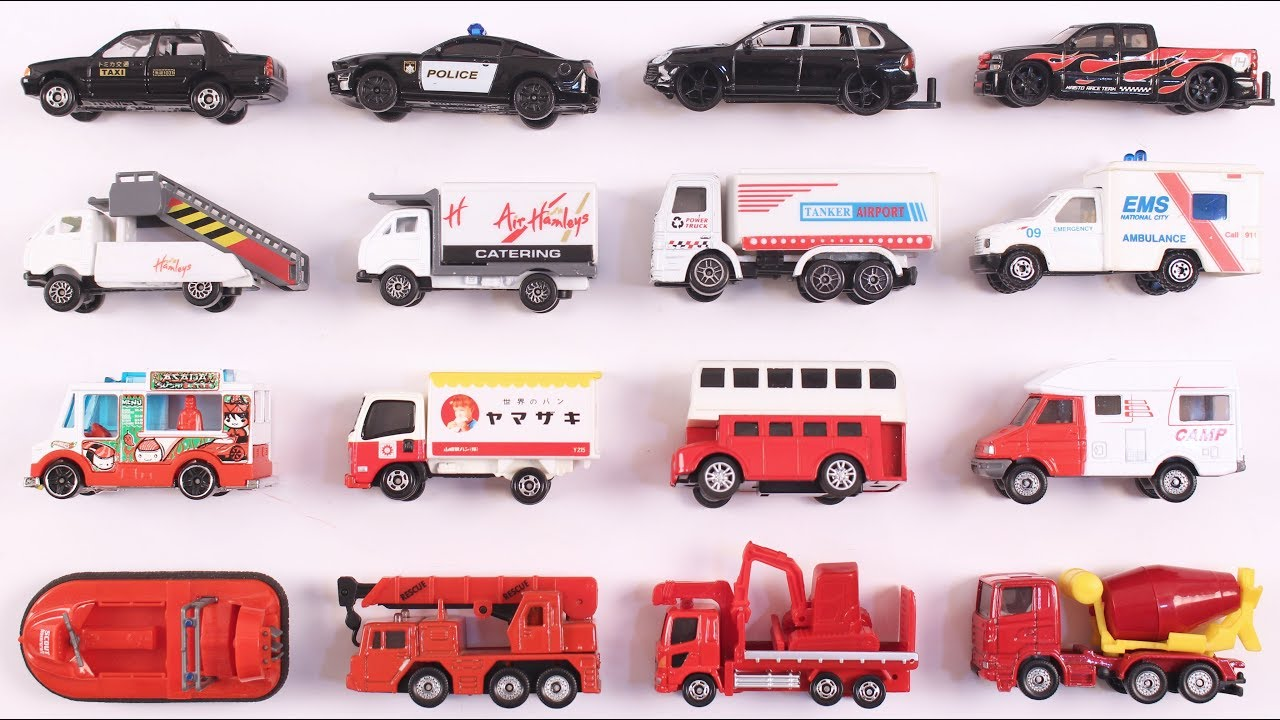 Colors for Children to Learn with Street Vehicles | Vehicles for Kids | Black, White, RED Vehicles