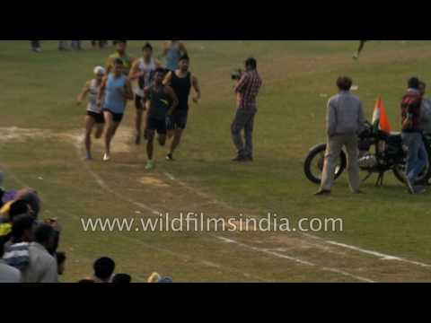 Men's 800 meter race at Sports festival in Punjab, India