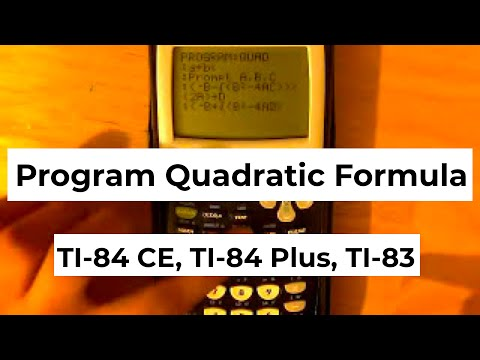 How To Program The Quadratic Formula On Ti 84 Youtube
