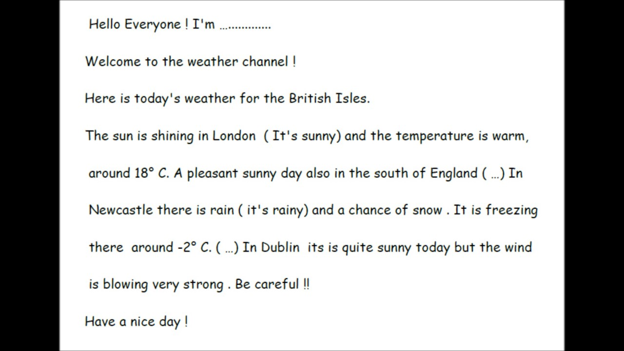 How to write a weather report sample