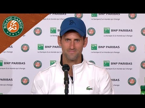 Novak Djokovic - Press conference after his win in Round 1I Roland-Garros 2018