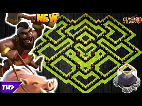 NEW TOWN HALL 9 FARMING/TROPHY BASE 2017! TH9 HYBRID DARK BASE WITH REPLAYS!! - CLASH OF CLANS(COC)