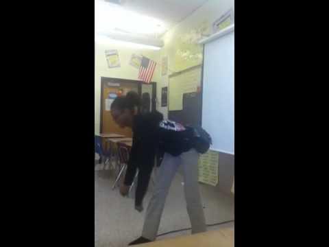 Girl dancing in class in deer park middle magnet school