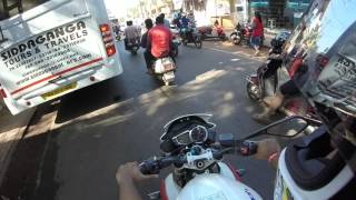 Riding a Street 675 R ,goa ,india bike week 2016.
