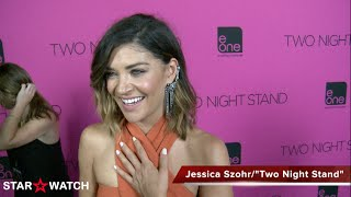 "Jessica Szohr red carpet interview at ""Two Night Stand"" premiere"