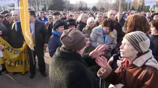 Митинг против блокады в Краматорске: потасовка между активистами и заводчанами