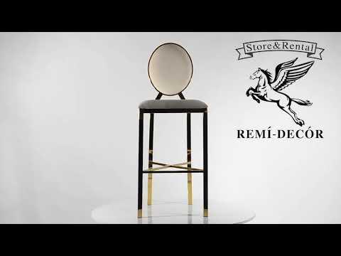 Видео обзор золотой барный стул из нержавеющего металла для баров и Мек Апп, салонов красоты.