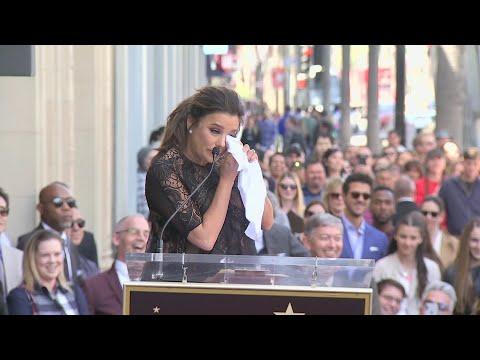 Longoria holds back tears as she receives star