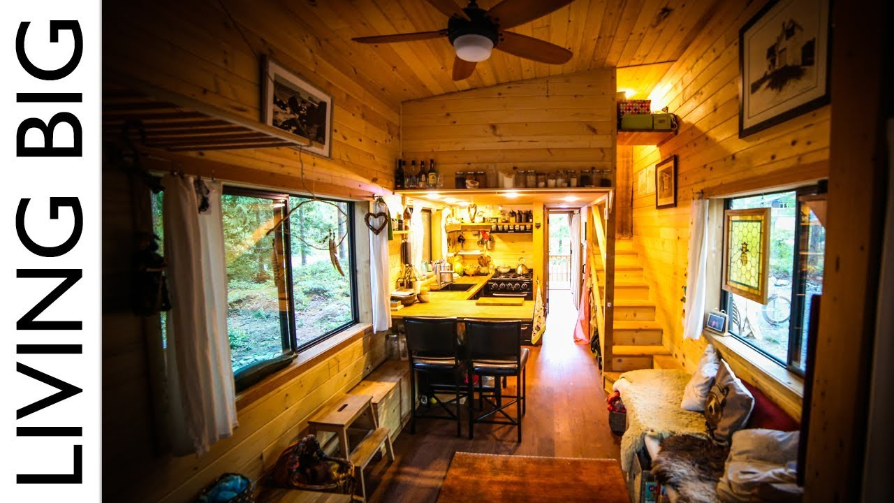 Natural build tiny house for family with separate office for Large family living in small house