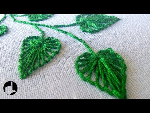 Hand Stitching |  Button Hole Stitch Leaves |  HandiWorks #27