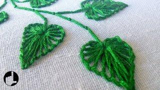 Bordando folhas – Bordado a mão
