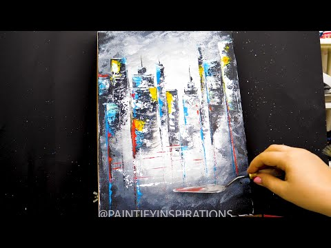 Abstract Cityscape | Acrylic Painting Tutorial Easy | Satisfying ASMR