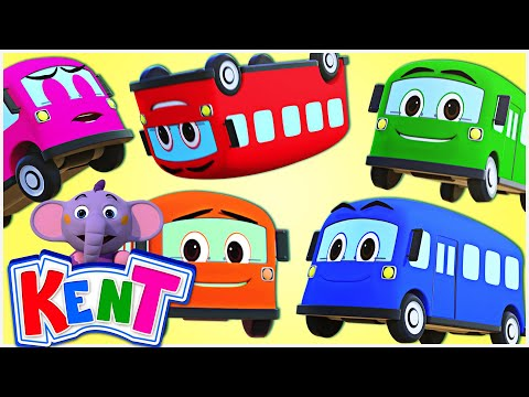 FIVE LITTLE BUSES JUMPING ON THE ROAD | Bus Songs | 3D Nursery Rhymes for Babies Kent The Elephant