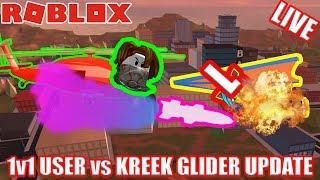 1v1 USER vs KREEK - MISSILE vs GLIDER BATTLE | 🔴 Roblox Jailbreak UPDATE LIVESTREAM