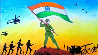 Drawing of Indian army ||independence day ||kargil vijay diwas