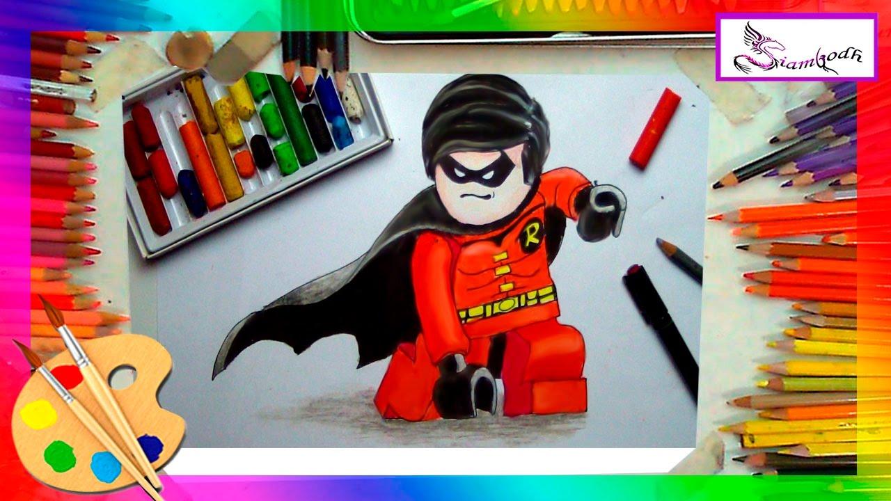 Dibujando A Robin De Lego Batman Tutorial Dibujo Facil Para Niños En Oleo Pastel