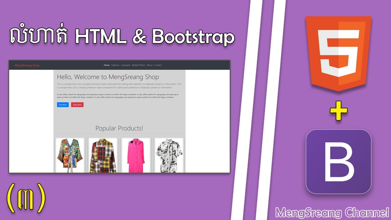 Greeting Row - Bootstrap Website with HTML & Bootstrap Part 3 | MengSreang Channel