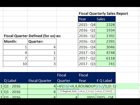 Highline Excel 2016 Class 09: Date Formulas and Date Functions, including Fiscal Quarter & Year