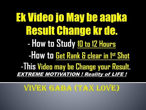Study Schedule I May be Change your Result I MOTIVATION I REALITY OF LIFE I CA VIVEK GABA
