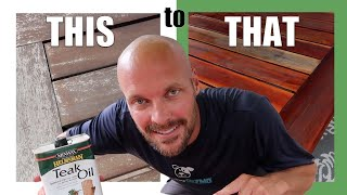 How to Refinish Outdoor Wood Furniture with Minwax Teak Oil   DAD HACK