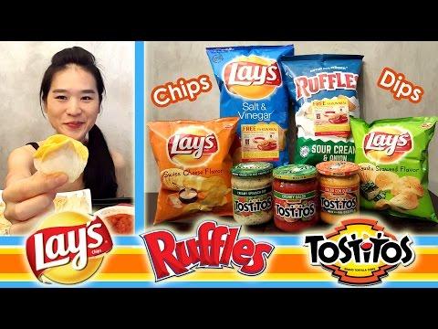 CHIPS & DIPS   Crunchy Eating Sounds   Mukbang   Eating Show
