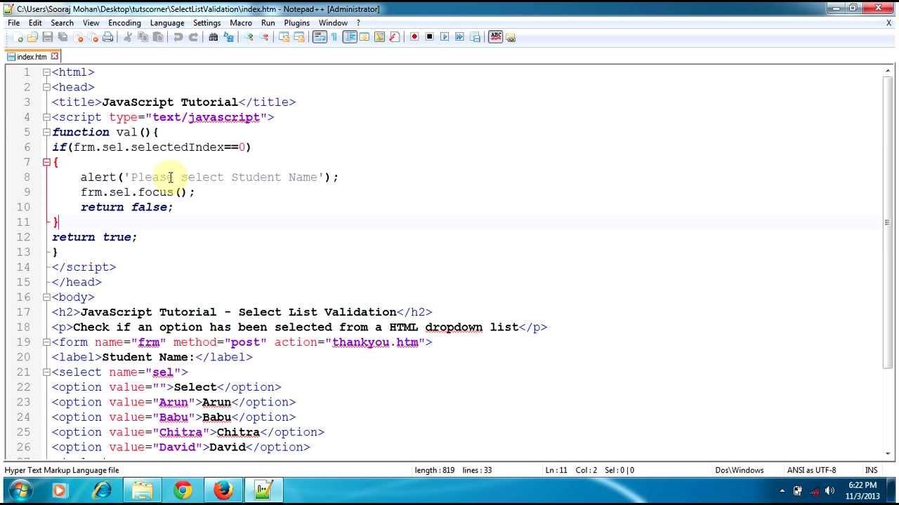 Javascript tutorial select list validation check if any option selected