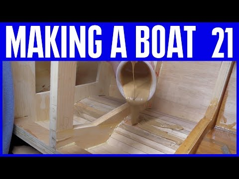 Marine Epoxy Resin Coating the Inside Hull - How to Build a Wooden Boat 21