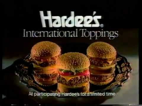 1988 hardees restaurant commercial international toppings youtube
