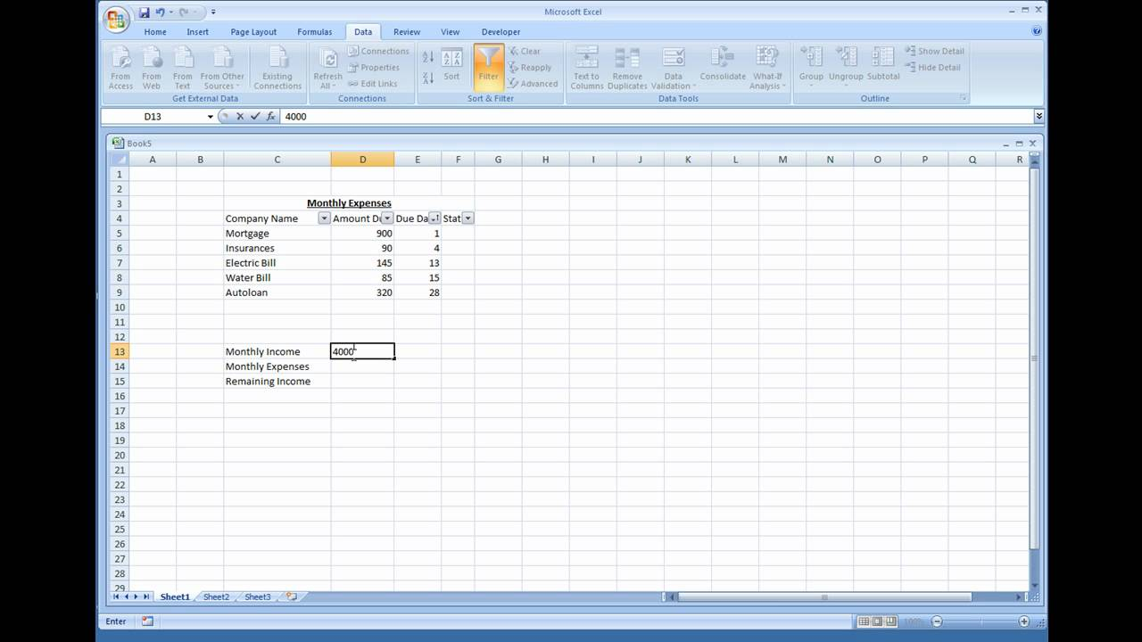 microsoft excel creating a simple expense sheet youtube