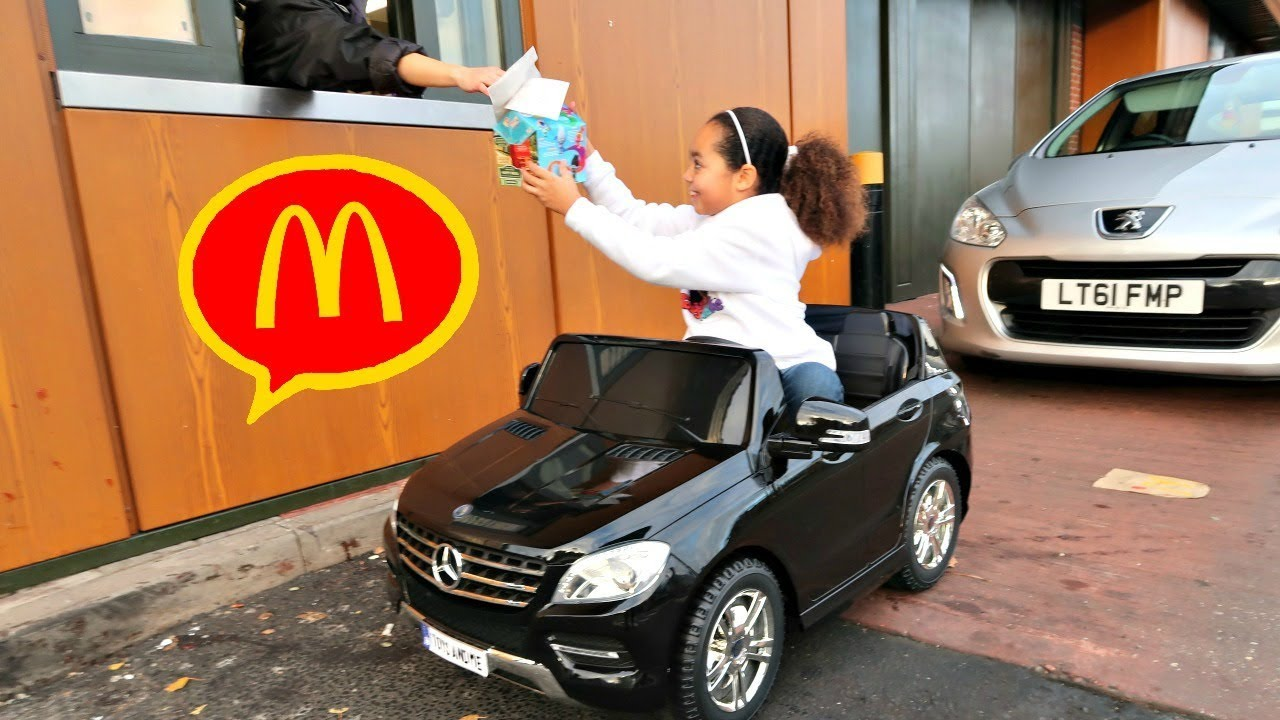 mcdonalds drive thru prank power wheels ride on car pretend play
