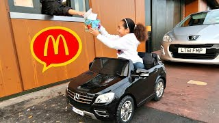 McDonalds Drive Thru Prank!! Power Wheels Ride On Car Pretend Play thumbnail