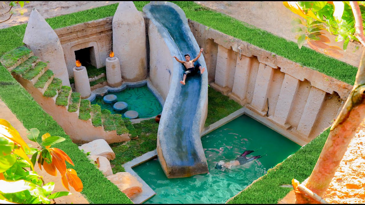 Building Cave Platinum Water Slide To Underground Swimming Pool With Private Living Room
