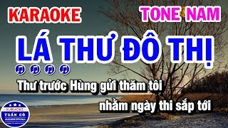 Karaoke Lá Thư Đô Thị || Nhạc Sống Tone Nam Tuấn Cò Karaoke