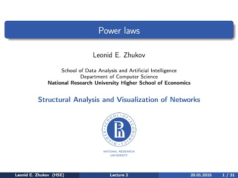 Network Analysis. Lecture 2. Power laws.
