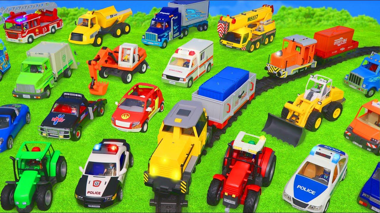 Police Cars Trains Fire Truck Ambulance Excavator