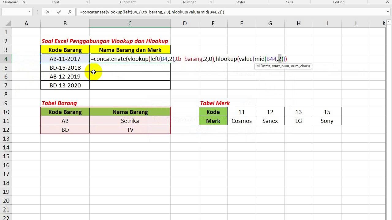 Soal Excel Penggabungan Rumus Vlookup Dan Hlookup Youtube