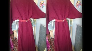 платье с рукавом летучая мышь, вязание спицами