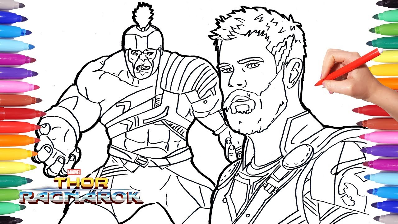 THOR RAGNAROK and HULK Coloring Pages | How to Draw Hulk and Thor ...