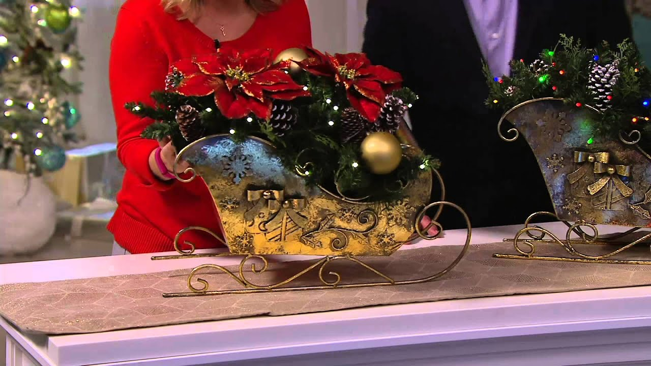 Bethlehem lights wreath battery operated - Bethlehem Lights Battery Op Sleigh With Mixed Greens On Qvc