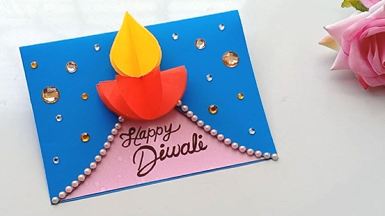 Diwali Card Handmade Easy Diwali Card Tutorial Diwali Card Making Handmade Diwali Greeting Cards Diwali Greeting Cards