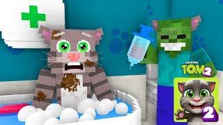 Monster School: MY TALKING TOM 2 CHALLENGE BabySitting - Minecraft Animation