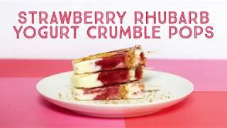 Strawberry Rhubarb Yogurt Crumble Pops
