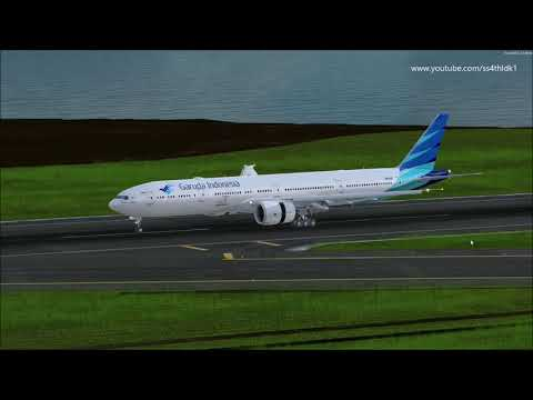 P3D v4 5 PMDG 777 Garuda Indonesia RNAV approach and landing with various  views