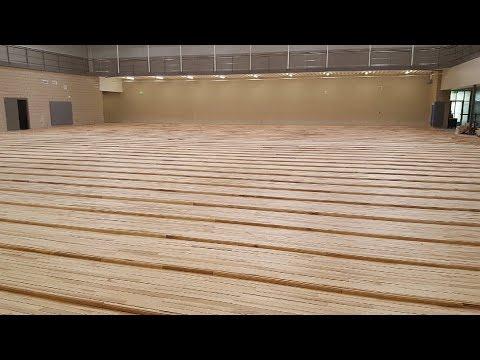 South Jordan Middle School gymnasium floor installation. (1 of 3)